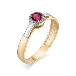 Женское кольцо из золота с рубином и бриллиантом