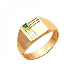 Кольцо-печатка из золота с изумрудом