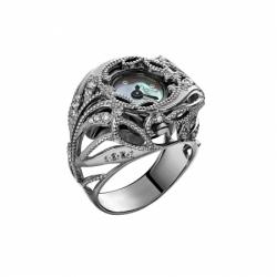 Часы-перстень серебряный Flora Узоры