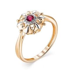 Женское золотое кольцо с рубином и бриллиантом