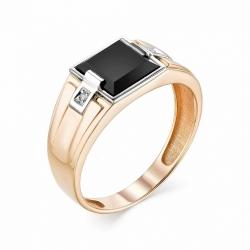 Мужское кольцо из золота с ониксом и бриллиантом