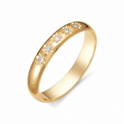 Золотое обручальное кольцо с бриллиантом