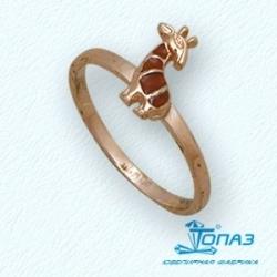 Детское золотое кольцо Жираф с эмалью