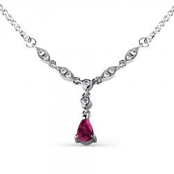 Колье из белого золота с рубином и бриллиантом