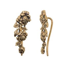 Серьги в виде роз из красного золота