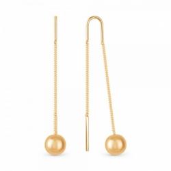 Серьги-цепочки из золота с шариком