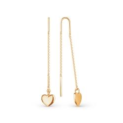 Серьги-продёвки с сердечками из золота
