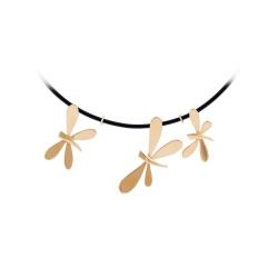 Колье с бабочками из золота на каучуковом шнуре