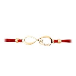 Браслет Love из красного золота с красным шнуром