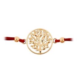 Браслет Дерево из красного золота с красным шнуром