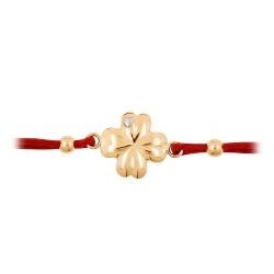 Браслет Клевер из красного золота с красным шнуром