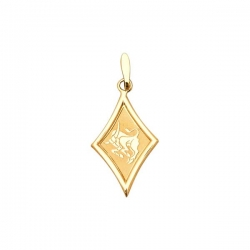 Золотая подвеска (без вставок с лазерным рисунком)