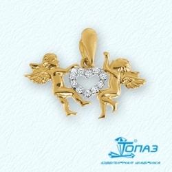Подвеска Ангелы из желтого золота с фианитами