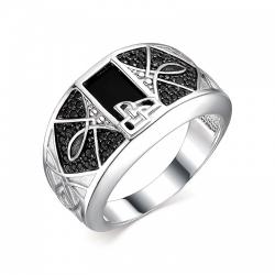 Мужское кольцо из серебра с агатом