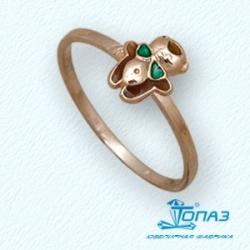 Детское золотое кольцо Мишка с эмалью