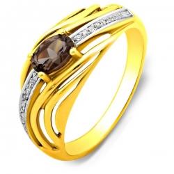 Кольцо из жёлтого золота с бриллиантами и дымчатым кварцем