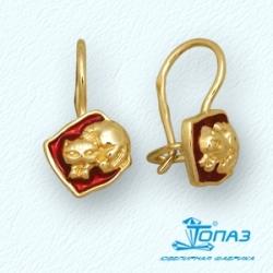 Детские серьги Котята из желтого золота с эмалью