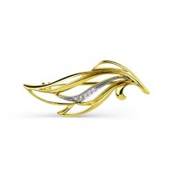 Брошь Листья из желтого золота с фианитами
