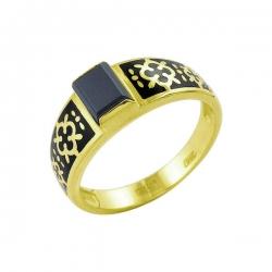 Кольцо-печатка из золота с фианитом и эмалью
