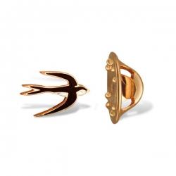 Значок Ласточка из красного золота с эмалью