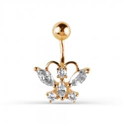 Золотой пирсинг Бабочка с фианитами