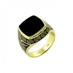 Кольцо-печатка из золота с ониксом и эмалью