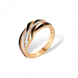 Кольцо из золота 585 пробы с фианитами и эмалью