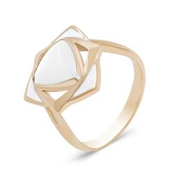 Кольцо из золота 585 пробы с перламутром и эмалью