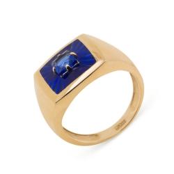 Кольцо-печатка из красного золота с ювелирным кристаллом