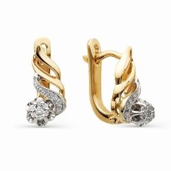 Золотые серьги с имитацией большого бриллианта