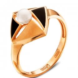 Кольцо из золота 585 пробы с жемчугом и эмалью