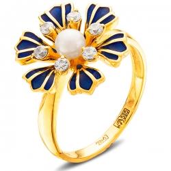 Кольцо из жёлтого золота 585 пробы с жемчугом, фианитами, эмалью