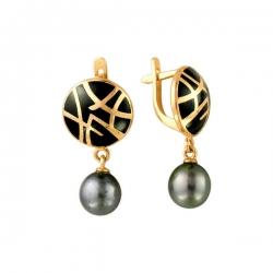 Золотые серьги с черным жемчугом и эмалью