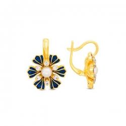 Серьги из жёлтого золота с жемчугом, фианитами и эмалью