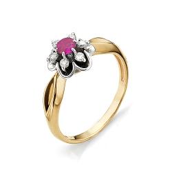 Золотое кольцо в виде цветка с рубином