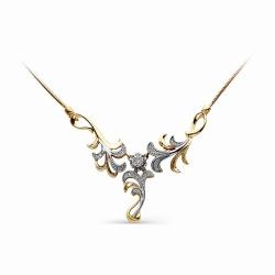 Золотое колье Растения с бриллиантами