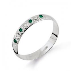 Кольцо из белого золота обручальное с изумрудом, бриллиантами