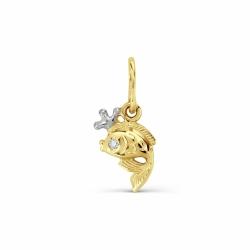 Детская подвеска Рыбка из желтого золота с фианитом