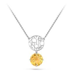 Колье из белого золота 585 пробы с бриллиантом и цитрином