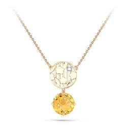 Колье из желтого/лимонного золота 585 пробы с бриллиантом и цитрином