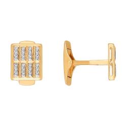 Золотые запонки c фианитами SOKOLOV