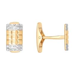 Золотые запонки без камней SOKOLOV
