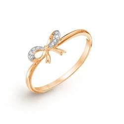 Золотое кольцо Бантик с бриллиантами