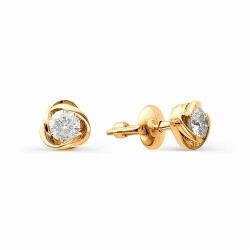 Золотые серьги гвоздики в виде цветов с бриллиантами