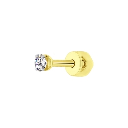Серьга из желтого золота с фианитом