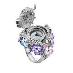 Часы-перстень серебряный Flora Кармен