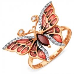 Золотое кольцо с эмалью и гранатом, фианитами