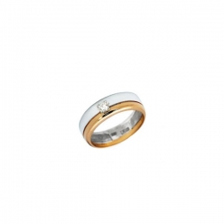 Обручальное кольцо из комбинированного золота с фианитом