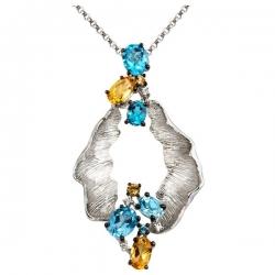 Колье с бриллиантами и полудрагоценными камнями