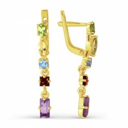 Серьги из желтого золота с цветными камнями